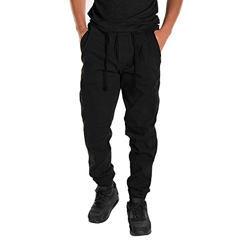 Dungaree Lined Flannel Washed Duck (Men's Jogger With Pockets,Fit Sweatpant Casual Cotton Stretch Sports Pants [Comfy Drawstring Bottom Pants Trousers] (Black, Large))