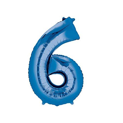 Regina 108048.2, Balão Metalizado Super Shape Número 6 Pack, Azul