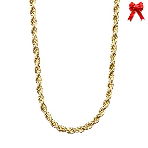 Lifetime Jewelry 2MM Rope Chain, 24K Gold with Inlaid Bronze Premium Fashion Jewelry Pendant Necklace Made to Wear Alone or with Pendants, Guaranteed for Life, 24 Inches