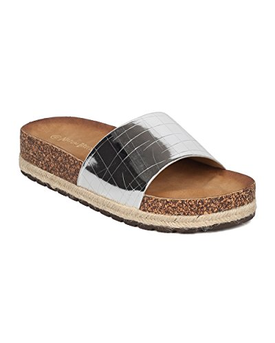 Nature Breeze Women Patent Footbed Sandal - Reptile Slide - Molded Footbed Slipper - GH93 by,7.5 B(M) US,Silver