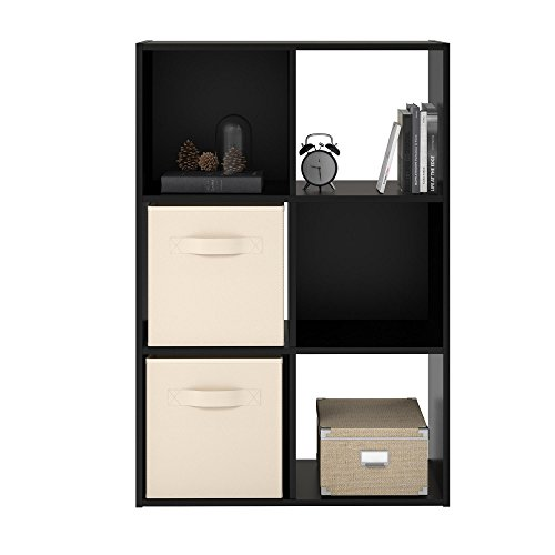 - Ameriwood Home RealRooms Tally 6 Cube Bookcase, Black Oak