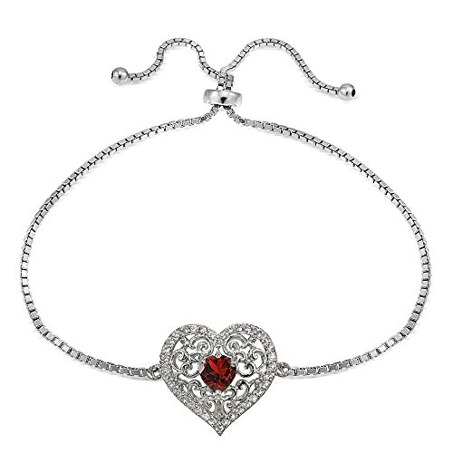 (Sterling Silver Created Ruby and White Topaz Filigree Heart Adjustable Bracelet )