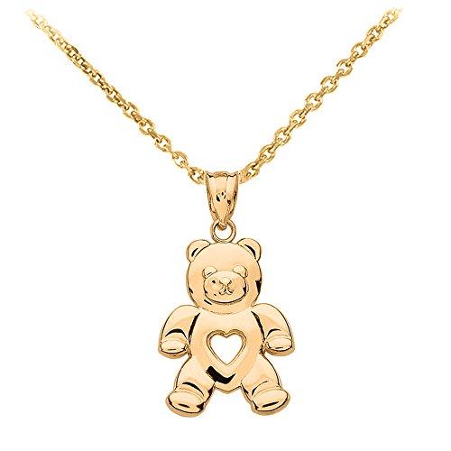 (Fine 14k Gold Love Teddy Bear Charm Pendant Necklace, 16