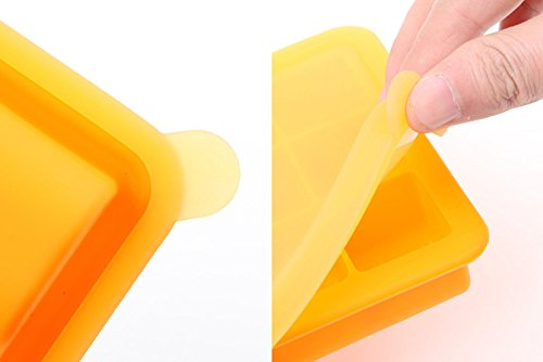 Skuleer(TM) BPA Free Baby Food Container Storage 9 Grids Platinum Silicone Baby Food Supplement Tray Ice Cube Box with Lid 1 PC [ Yellow ]
