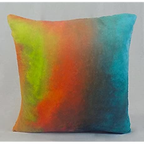 Turquoise Horizon Ombre Watercolor Ultra Soft Set Of 4 Vegan Suede Throw Pillows 16 X 16 By Naturally Home Made In The USA
