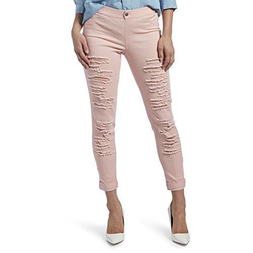 HUE Women's Ripped Cuffed Denim Skimmer Leggings, Evening Sand, M (Skimmer Pink)