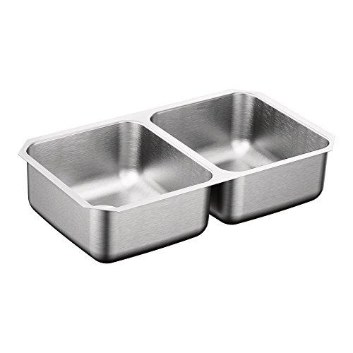 Moen G20210B 2000 Series 20 Gauge Double Bowl Undermount Sink, Stainless Steel (Bowl Sink Double)