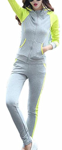 (FLCH+YIGE Womens Hoodie French Terry Track Suit Studded Along Zipper 1 XXL)