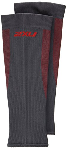 2XU Compression performance Sleeves, Grey/Red, Large (2xu Arm Compression Sleeve)