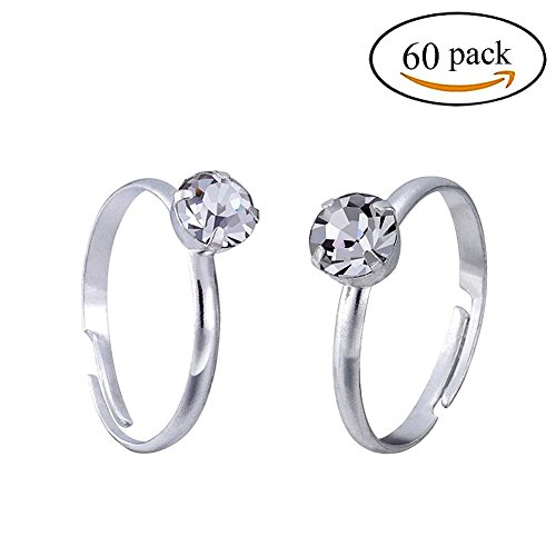 Topoox 60 Pack Bridal Shower Rings Silver Engagement Rings for Party Favor Table (Wedding Shower Favors)
