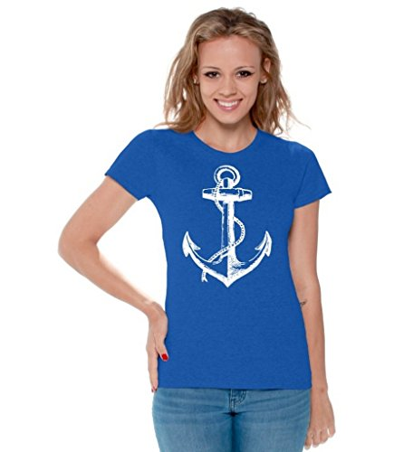 Awkwardstyles Women's Anchor White T-Shirt Sea Marine Sailor Shirt + Bookmark M Blue