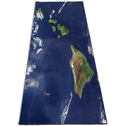 Island Personalized Mint - EJudge Yoga Mat Satellite Image of The Hawaiian Islands Personalized 1/4-Inch Thick Exercise Mats for Pilates, Fitness & Workout