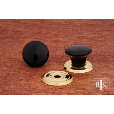 (RK International RKI 309-Black R.K. International CK 309 Black Flat Porcelain Ring Knob, Polished Brass)