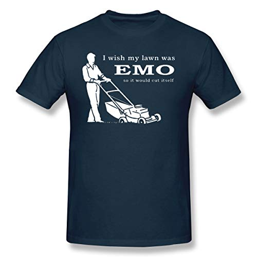 PerfectMeet Men's Iwish My Lawn was Emo So It Would Cut Itself Leisure T-Shirts Navy L with Short Sleeve