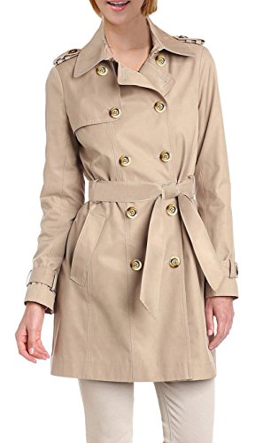 Belted Satin Trench Coat (iLoveSIA Women's Double Breasted Trench Coat US Size 16 Khaki)