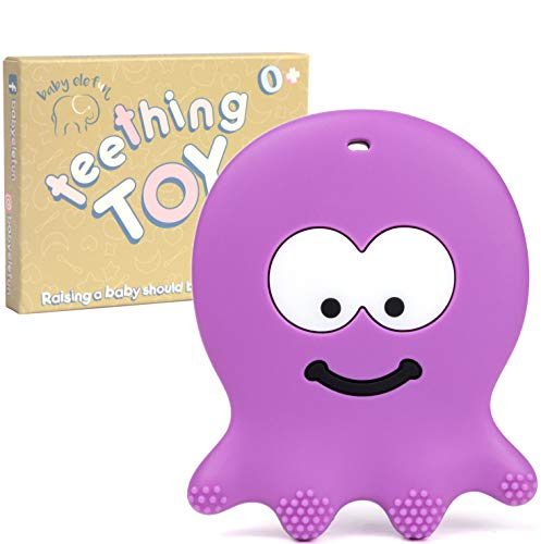 Baby Teething Toys - Adorable Violet Octopus - Best Sensory Learning Teether for Girl Or Boy Infant Newborn 3/6 / 12 Months / 1 Year Old - BPA Free Silicone - Cool