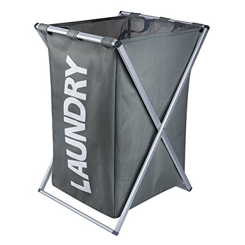 Laundry Hamper Oxford Metal X-Frame Laundry Basket Clothes Storage (Dark Gray Hamper) (Metal Hampers)