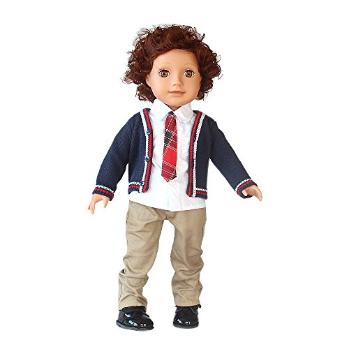 18' Action Figure Doll (18 inch Boy Doll Clothes Back to School Outfits,4pcs-Cardigan Sweater & Short Sleeve Cotton Shirt & Khaki Pants & Leather Shoes Outfit for 18 inch American Girl Boys Doll)