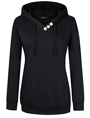 AMZ PLUS Women's Long Sleeve Button V-Neck Tunic Tops Pullover HoodiesBlack XL by AMZ PLUS (Image #7)