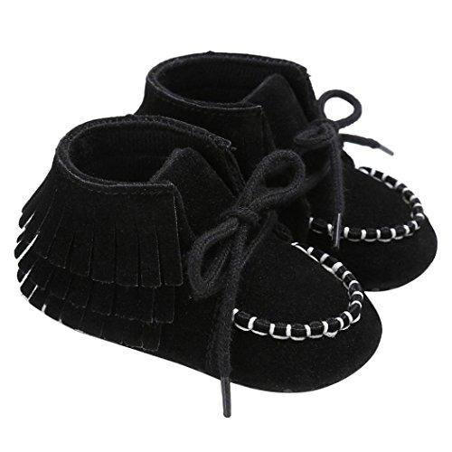 OverDose Baby Neugeborene Troddel Soft Sole Schuhe Jungen Mädchen Anti-Rutsch Kleinkind Krippe Prewalker Schuhe (0-18Monate) Schwarz