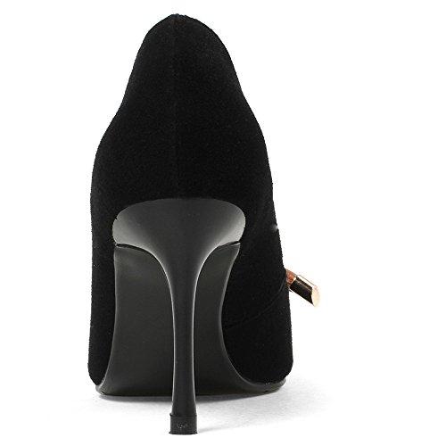 Neuf Sept Daim En Cuir Bout Pointu Orteils Talons Pointus Chaussures De Confort À La Main Occasionnels Avec Bowknot Noir