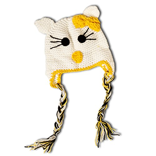 [Little Girls Crochet Kitty Beanie Hat (White and Yellow)] (Kitty Newborn Baby Costumes)