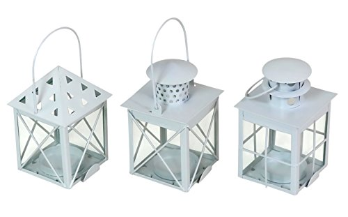 Iconikal Mini Lantern Tealight Candle Holders Set of 3 - Hanging Votive Lanterns