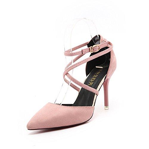MUYII Zapatos De Mujer Nuevo Coreano Con Punta De Tacón Alto 8.5 CM Fino Con La Boca Baja Foot Straps Shoes Pink