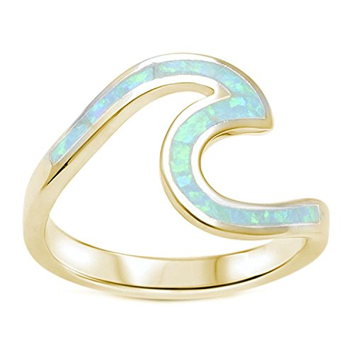Tone Swirl Ring - Blue Apple Co. Wave Ring Band Swirl Created Lab White Opal Yellow Toneated 925 Sterling Silver