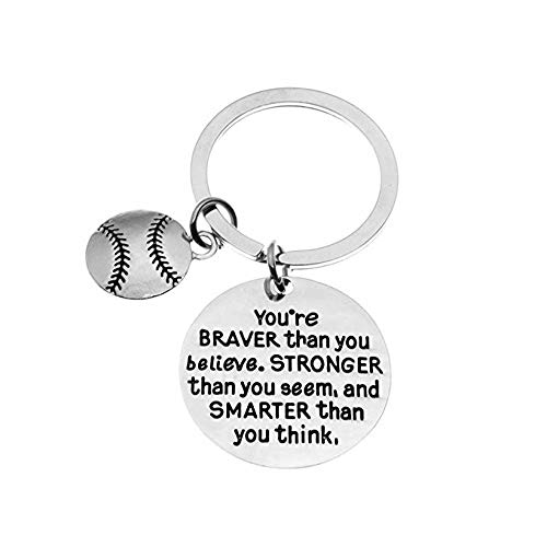 Softball Charm Keychain, Inspirational You're Braver Than You Believe, Stronger Than You Seem & Smarter You Think Jewelry, Softball Gifts for Softball Players, ()