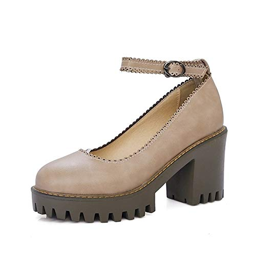 Polyurethane Light Comfort Almond ZHZNVX Heel Spring Women's Summer Gray Brown Heels Brown PU Chunky Shoes amp; Light ggxt0A