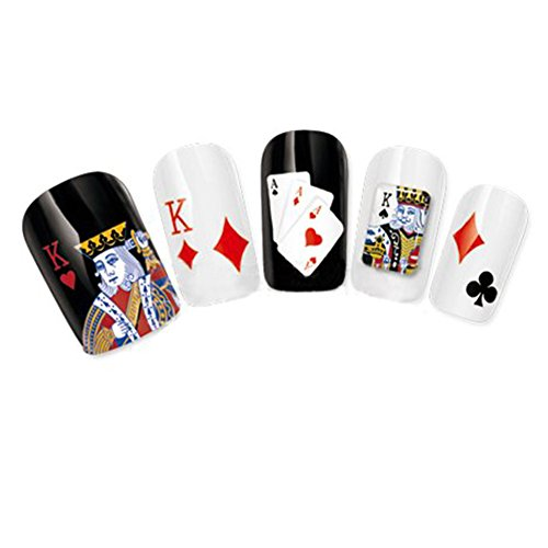 Nicedeco Beautiful & Fun & Colorful & Fashion Nail Stickers/Tattoo/Decals Water Transfer Decals Casino Playing Cards Diamond/King/Heart Design