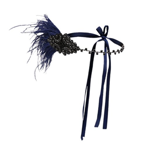Prettyia Feather Flapper Headband Crystal Headdress Charleston Headpiece Fascinator - navy blue feather, 18×10cm
