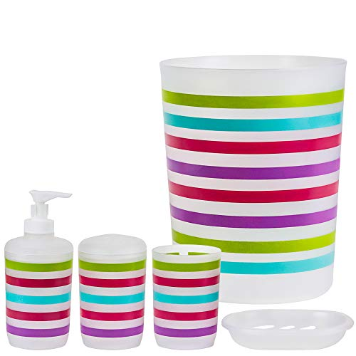 DecorRack Set of 5 Designer Bathroom Vanity Accessories, BPA Free – Plastic, Bath Ensemble Includes Trash Can, Hand Soap Lotion Dispenser, Toothbrush Holder, Bathroom Tumbler, Soap Dish (5 Pcs Set) ()