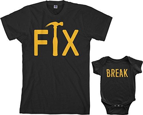 Threadrock Fix & Break Infant Bodysuit & Men's T-Shirt Matching Set (Baby: 18M, Black|Men's: L, Black)