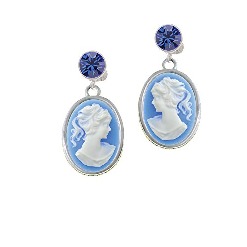Silvertone Oval - Blue Cameo - Blue Crystal Clip on Earrings