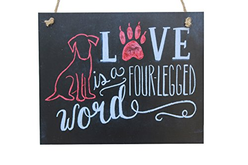 Meijiafei Love Is A Four-legged Word With Red Dog Word Chalk Sign