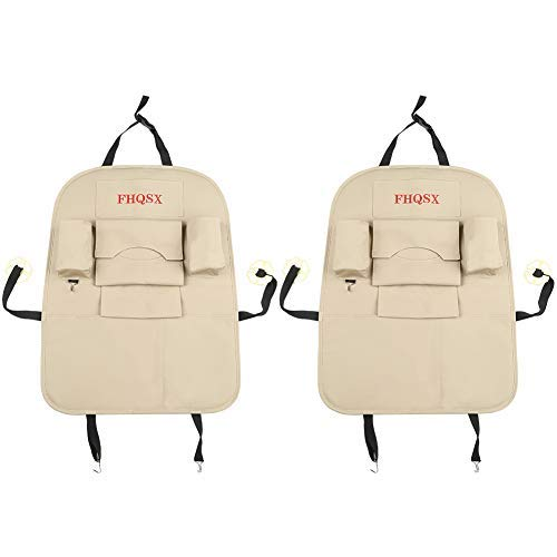 FHQSX PU Leather Car Back Seat Organizer, Kick Protector 2 Pack for Kids - Beige (Mats Tan Kick)