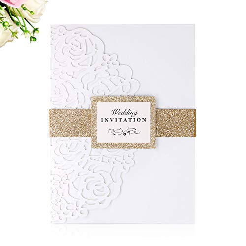 PONATIA 20 PCS 5 x 7 inches Laser Cut 3 Folds Wedding Invitations Cards with Belt for Wedding Birthday Engagement Greeting Invitations Cards Use+ Envelopes + RSVP Cards ()