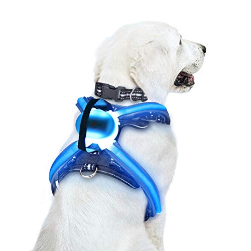 WINSEE LED Illuminated and Reflective No Pull Dog Harness for Large Dogs Multicolored Fiber Optics USB Rechargeable