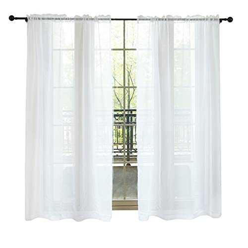 """Lofus Sheer Window Curtains, Rods Pocket Voile Fabric Drapes/Panels/Treatments for Living Room/Kitchen/Bedroom, 52"""" x 84"""", Set of 2, White"""