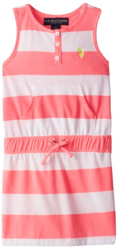 U.S. Polo Assn. Little Girls' Striped Tank Dress, Pink Fever, 5/6