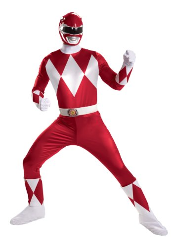 Disguise Sabans Mighty Morphin Power Rangers Red Ranger Super Deluxe Mens Adult Costume, Red/White, (Power Ranger Boots)