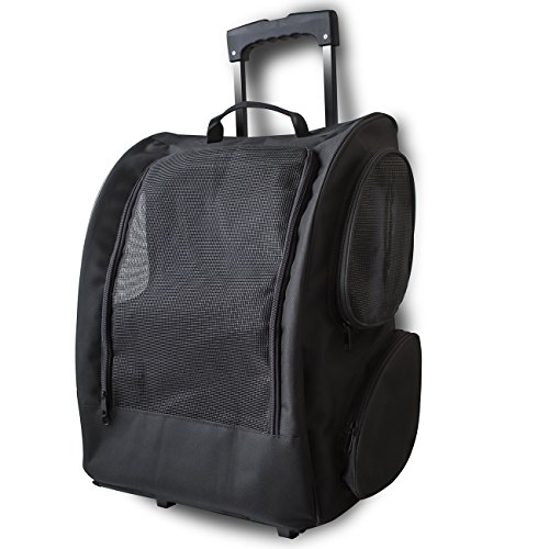 OxGord Rolling Backpack Pet Carrier, 14 x 11 x 19 - Inch, Black - A Door Able Cat Toy