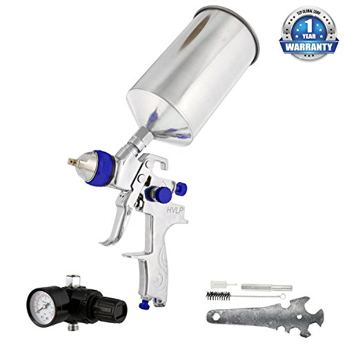 TCP Global Brand Professional HVLP Spray Gun with 1.8mm Fluid Tip and Regulator