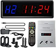 Celendi - LED Gym Timer Stopwatch with Remote, Countdown/up Clock in Mints Secs, Ideal Interval Timer Clock fo