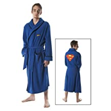 Superman Embroidered Logo Blue Bathrobe L/XL