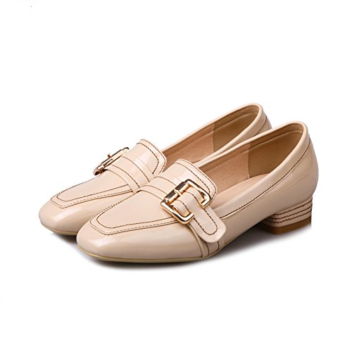 Show Shine Womens Decoration Buckles Slide Loafers Shoes Beige 8XxSesS
