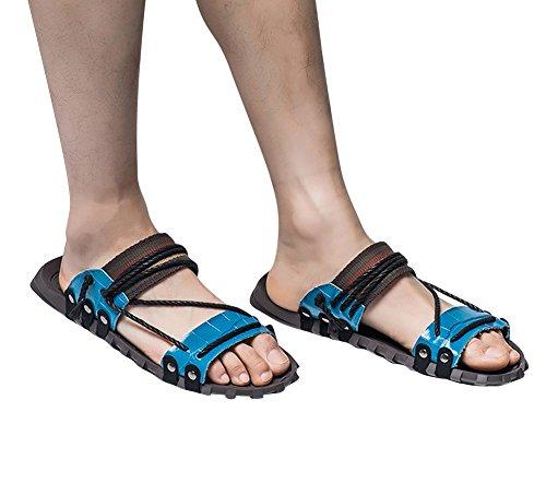 Tortor 1bacha Heren Leren String Bohemien Open Teen Slippers Boho Sandalen Blauw