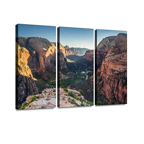 Zion National Park at Sunset, Utah, USA Print On Canvas Wall Artwork Modern Photography Home Decor Unique Pattern Stretched and Framed 3 Piece ()